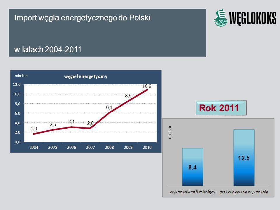 Import węgla energetycznego do Polski w latach 2004-2011 Rok 2011 mln ton