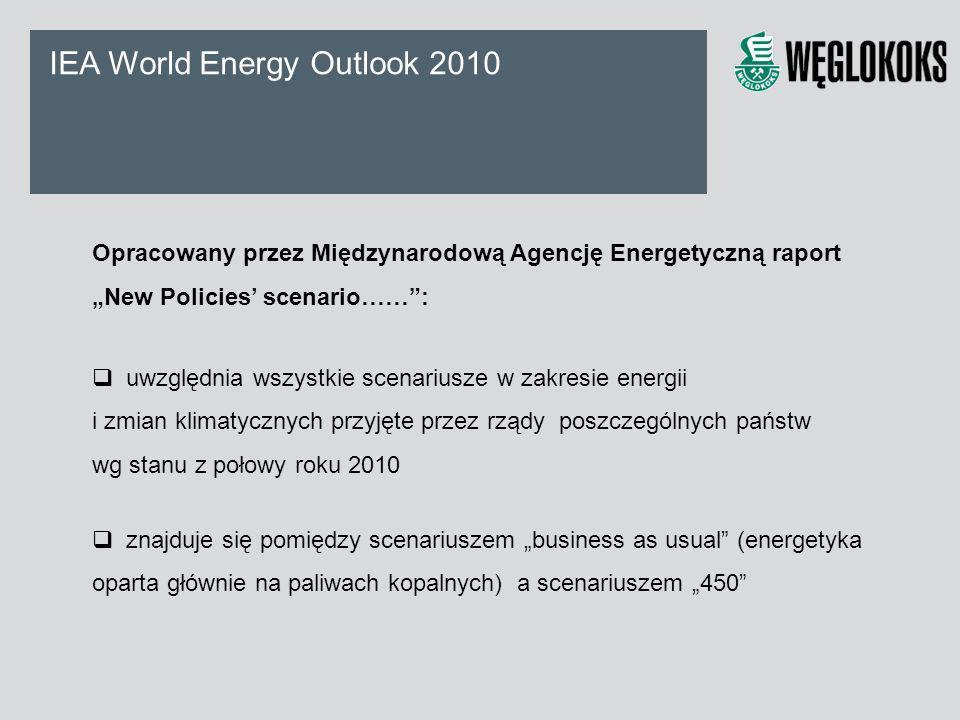 IEA World Energy Outlook 2010 Opracowany przez Międzynarodową Agencję Energetyczną raport New Policies scenario……: uwzględnia wszystkie scenariusze w