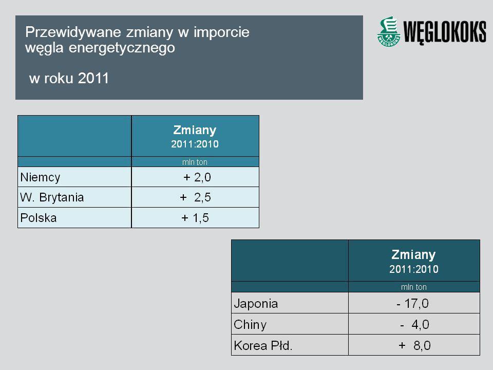 Przewidywane zmiany w imporcie węgla energetycznego w roku 2011
