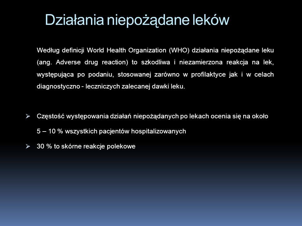 Według definicji World Health Organization (WHO) działania niepożądane leku (ang. Adverse drug reaction) to szkodliwa i niezamierzona reakcja na lek,