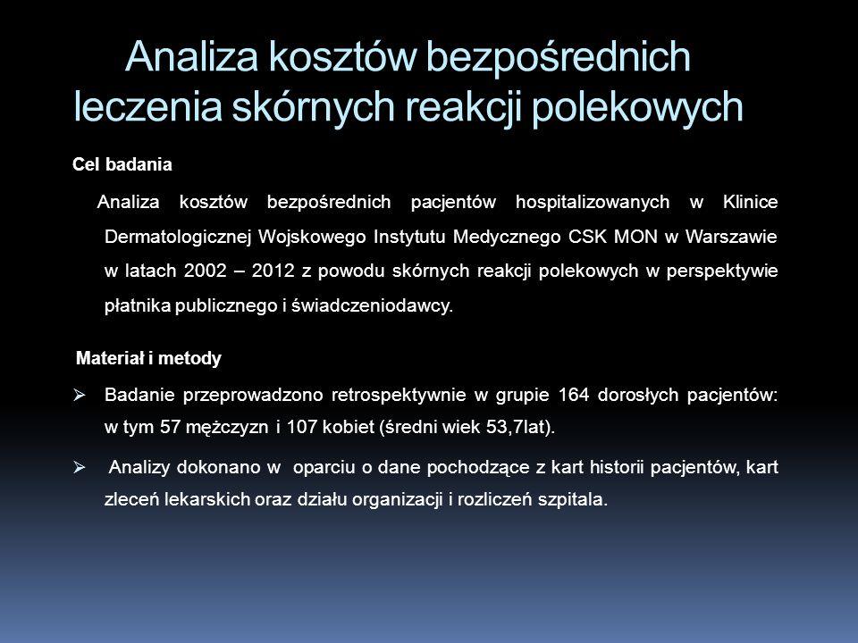 Cel badania Analiza kosztów bezpośrednich pacjentów hospitalizowanych w Klinice Dermatologicznej Wojskowego Instytutu Medycznego CSK MON w Warszawie w