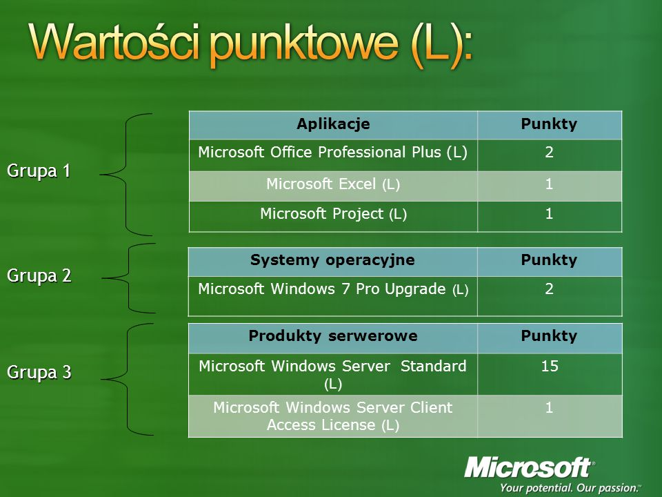 AplikacjePunkty Microsoft Office Professional Plus (L)2 Microsoft Excel (L) 1 Microsoft Project (L) 1 Systemy operacyjnePunkty Microsoft Windows 7 Pro Upgrade (L) 2 Produkty serwerowePunkty Microsoft Windows Server Standard (L) 15 Microsoft Windows Server Client Access License (L) 1 Grupa 1 Grupa 2 Grupa 3