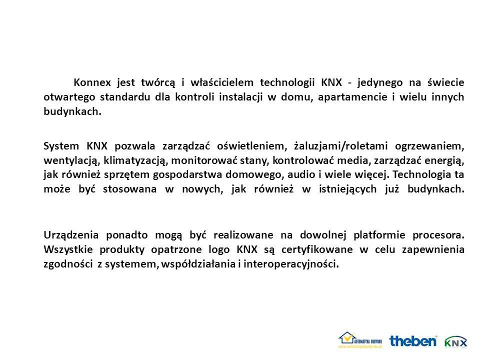 Konnex jest twórcą i właścicielem technologii KNX - jedynego na świecie otwartego standardu dla kontroli instalacji w domu, apartamencie i wielu innyc