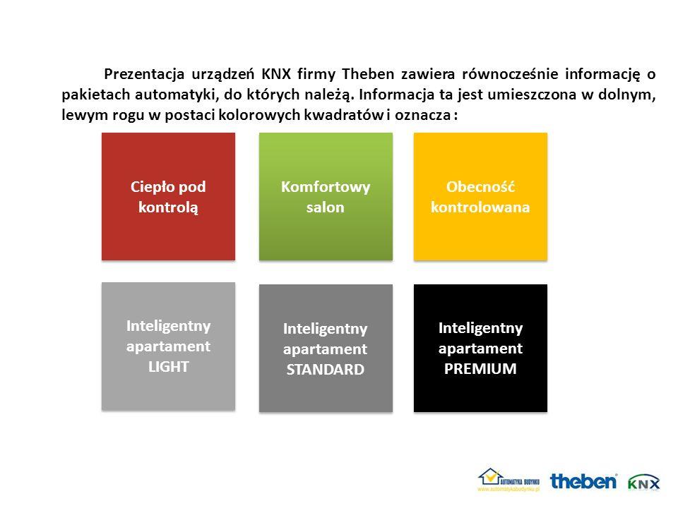 Prezentacja urządzeń KNX firmy Theben zawiera równocześnie informację o pakietach automatyki, do których należą. Informacja ta jest umieszczona w doln