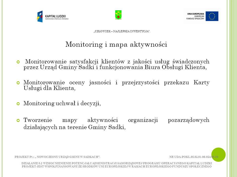 Monitoring i mapa aktywności Monitorowanie satysfakcji klientów z jakości usług świadczonych przez Urząd Gminy Sadki i funkcjonowania Biura Obsługi Klienta, Monitorowanie oceny jasności i przejrzystości przekazu Karty Usługi dla Klienta, Monitoring uchwał i decyzji, Tworzenie mapy aktywności organizacji pozarządowych działających na terenie Gminy Sadki, CZŁOWIEK – NAJLEPSZA INWESTYCJA.