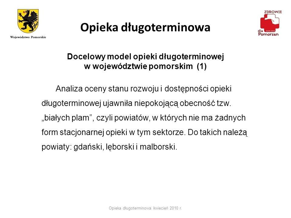 Opieka długoterminowa Opieka długoterminowa kwiecień 2010 r. Docelowy model opieki długoterminowej w województwie pomorskim (1) Analiza oceny stanu ro
