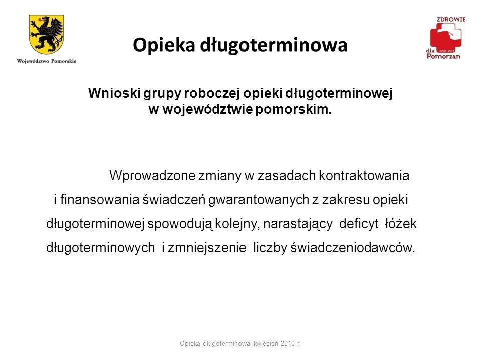 Opieka długoterminowa Opieka długoterminowa kwiecień 2010 r. Wnioski grupy roboczej opieki długoterminowej w województwie pomorskim. Wprowadzone zmian