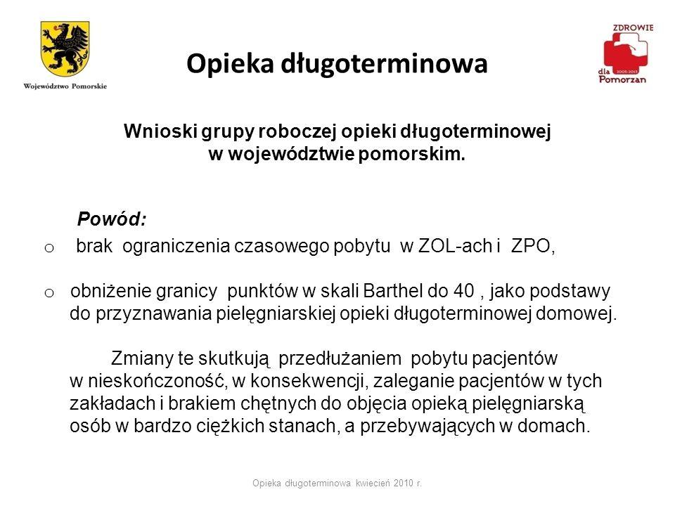 Opieka długoterminowa Opieka długoterminowa kwiecień 2010 r. Wnioski grupy roboczej opieki długoterminowej w województwie pomorskim. Powód: o brak ogr