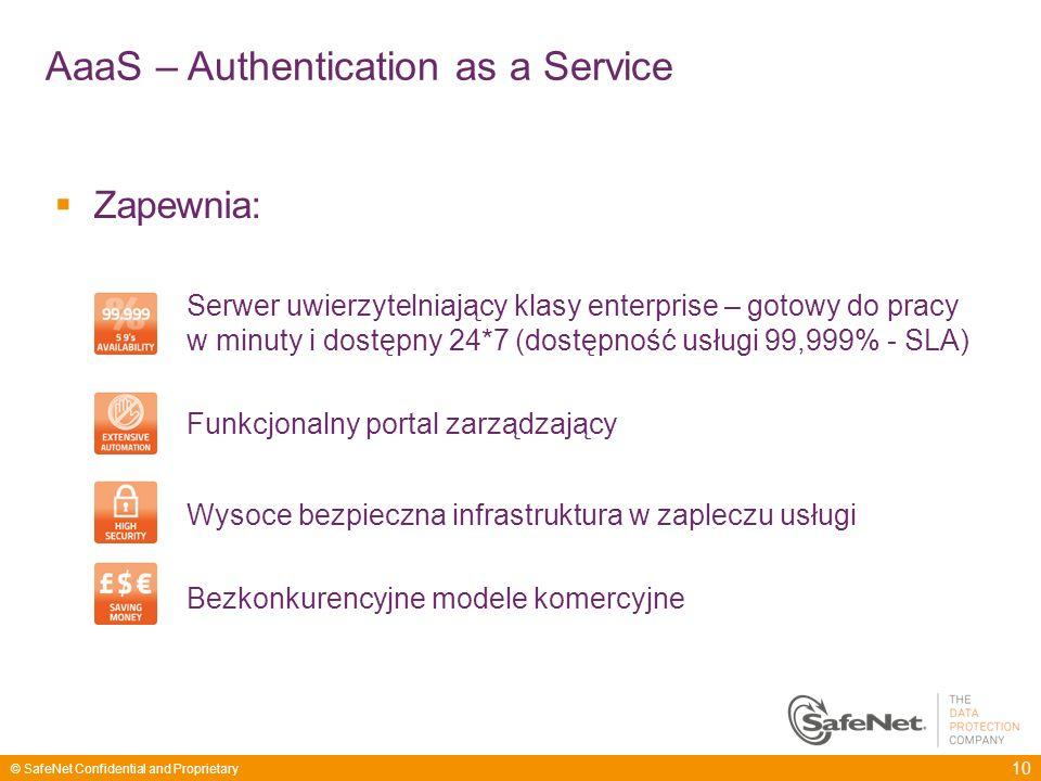 10 © SafeNet Confidential and Proprietary Zapewnia: Serwer uwierzytelniający klasy enterprise – gotowy do pracy w minuty i dostępny 24*7 (dostępność u