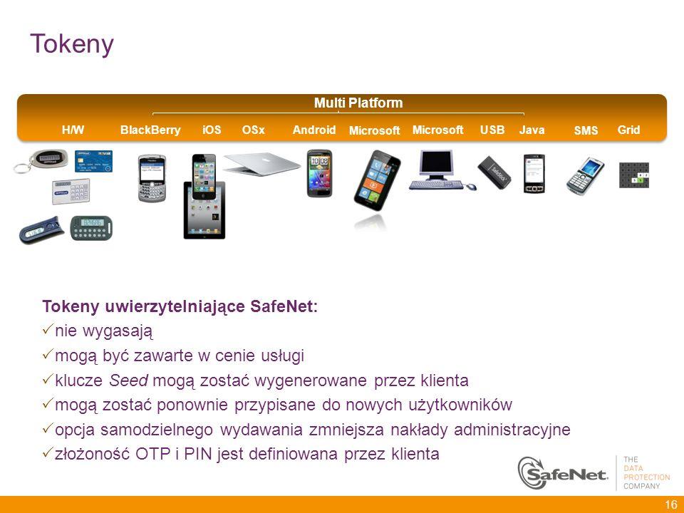 Tokeny uwierzytelniające SafeNet: nie wygasają mogą być zawarte w cenie usługi klucze Seed mogą zostać wygenerowane przez klienta mogą zostać ponownie