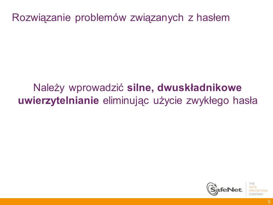 Należy wprowadzić silne, dwuskładnikowe uwierzytelnianie eliminując użycie zwykłego hasła 5 Rozwiązanie problemów związanych z hasłem