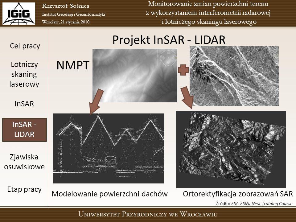 Cel pracy Lotniczy skaning laserowy InSAR InSAR - LIDAR Zjawiska osuwiskowe Etap pracy Krzysztof Sośnica Instytut Geodezji i Geoinformatyki Wrocław, 2
