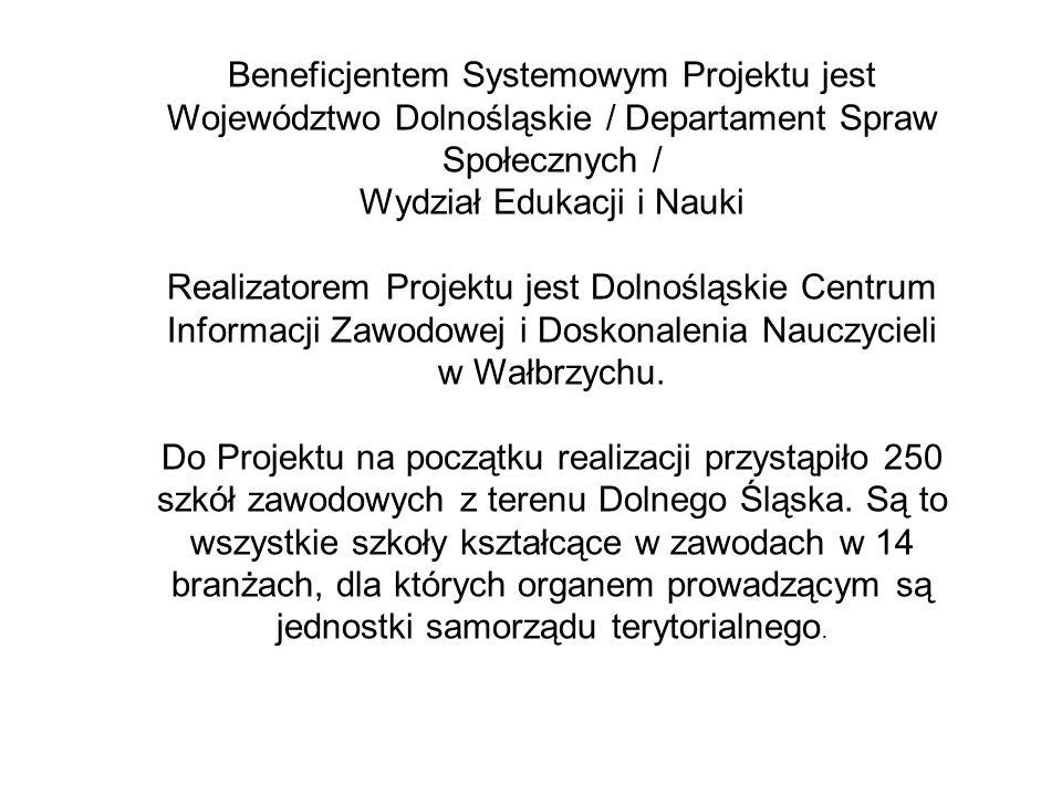 Beneficjentem Systemowym Projektu jest Województwo Dolnośląskie / Departament Spraw Społecznych / Wydział Edukacji i Nauki Realizatorem Projektu jest Dolnośląskie Centrum Informacji Zawodowej i Doskonalenia Nauczycieli w Wałbrzychu.