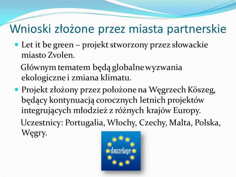 Wnioski złożone przez miasta partnerskie Let it be green – projekt stworzony przez słowackie miasto Zvolen.
