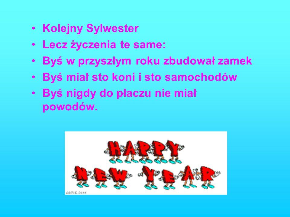Na Nowy Rok życzę Ci pomyślności, potęgi miłości, siły młodości, samych spokojnych, pogodnych dni i mnóstwa cudownych i wzniosłych chwil !!!