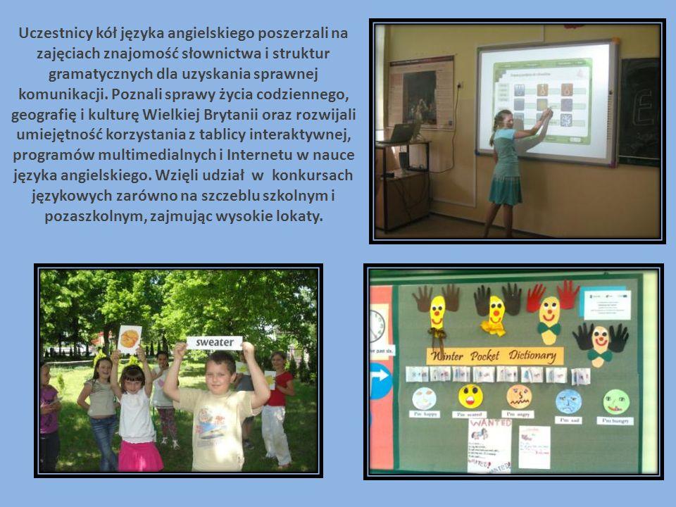Uczestnicy kół języka angielskiego poszerzali na zajęciach znajomość słownictwa i struktur gramatycznych dla uzyskania sprawnej komunikacji. Poznali s