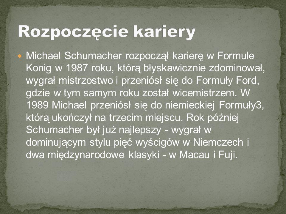 Michael Schumacher rozpoczął karierę w Formule Konig w 1987 roku, którą błyskawicznie zdominował, wygrał mistrzostwo i przeniósł się do Formuły Ford,