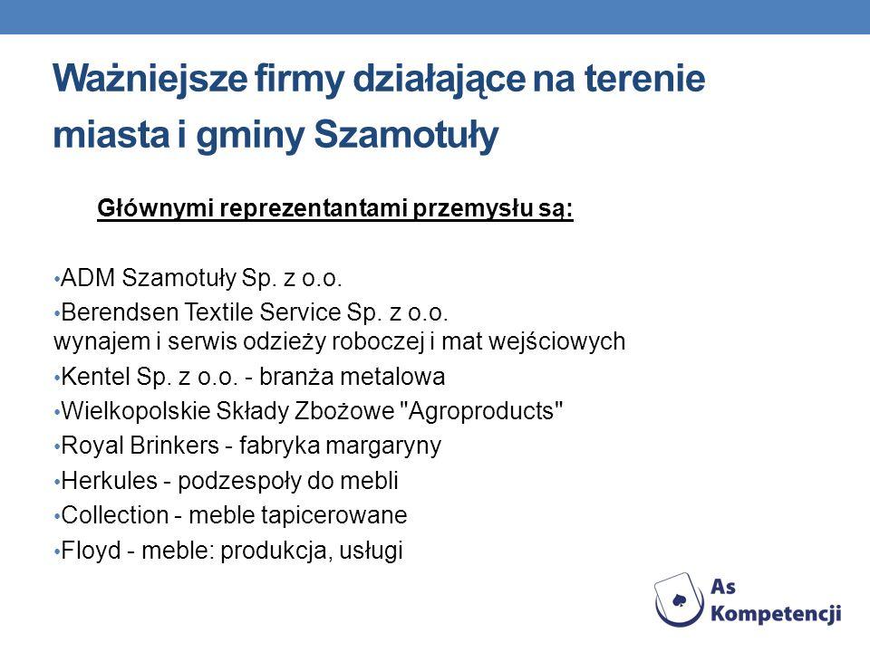 Ważniejsze firmy działające na terenie miasta i gminy Szamotuły Głównymi reprezentantami przemysłu są: ADM Szamotuły Sp. z o.o. Berendsen Textile Serv