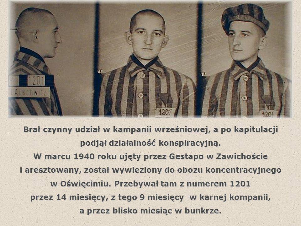 W marcu 1942 roku w więzieniu w Katowicach zostaje skazany na karę śmierci przez ścięcie za działalność konspiracyjną za działalność konspiracyjną przeciw Rzeszy Niemieckiej.