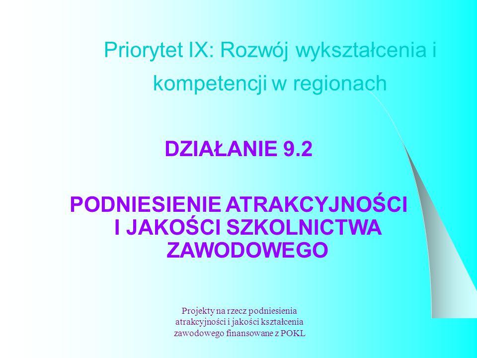 Priorytet IX: Rozwój wykształcenia i kompetencji w regionach Projekty na rzecz podniesienia atrakcyjności i jakości kształcenia zawodowego finansowane z POKL DZIAŁANIE 9.2 PODNIESIENIE ATRAKCYJNOŚCI I JAKOŚCI SZKOLNICTWA ZAWODOWEGO