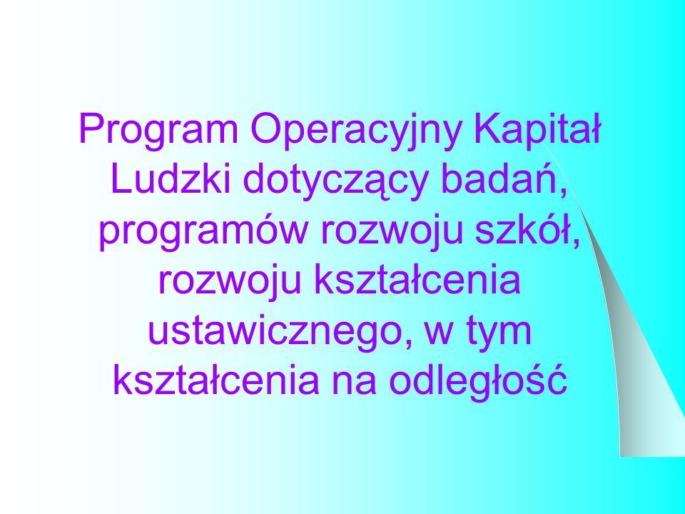Program Operacyjny Kapitał Ludzki dotyczący badań, programów rozwoju szkół, rozwoju kształcenia ustawicznego, w tym kształcenia na odległość