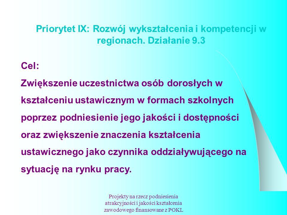 Priorytet IX: Rozwój wykształcenia i kompetencji w regionach.