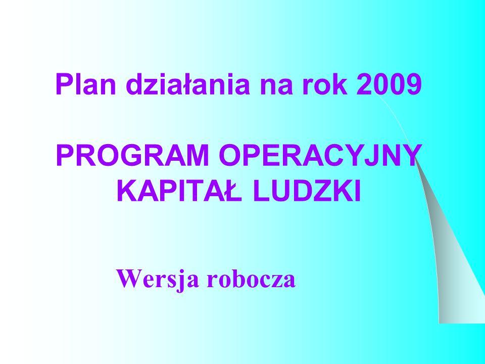 Plan działania na rok 2009 PROGRAM OPERACYJNY KAPITAŁ LUDZKI Wersja robocza