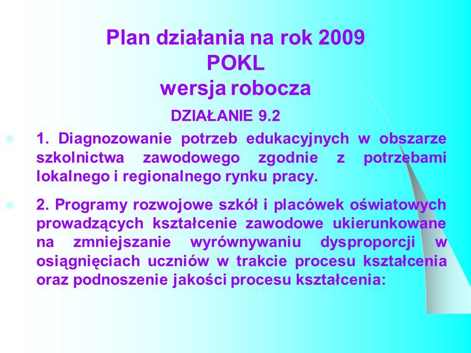 Plan działania na rok 2009 POKL wersja robocza DZIAŁANIE 9.2 1.