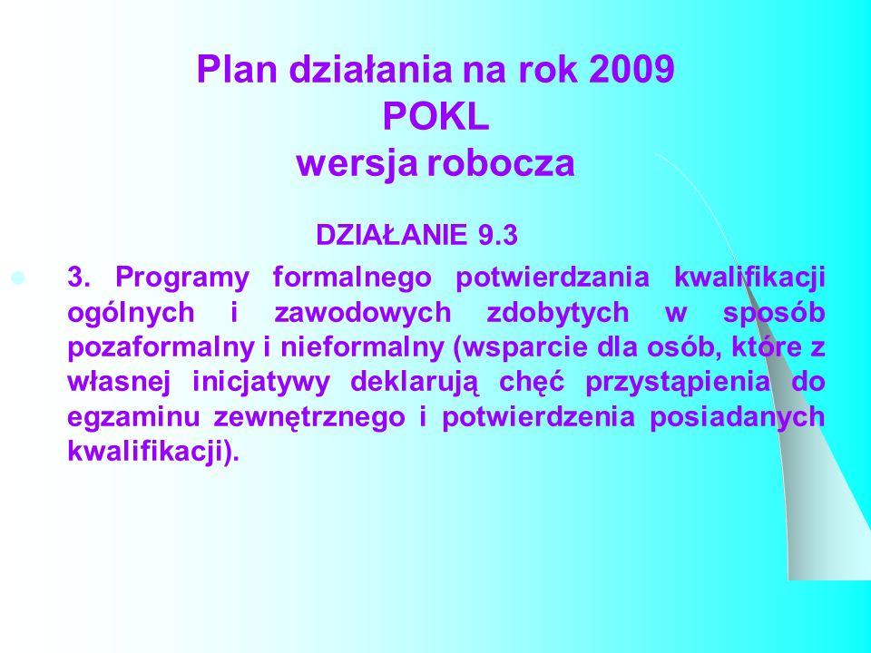 Plan działania na rok 2009 POKL wersja robocza DZIAŁANIE 9.3 3.
