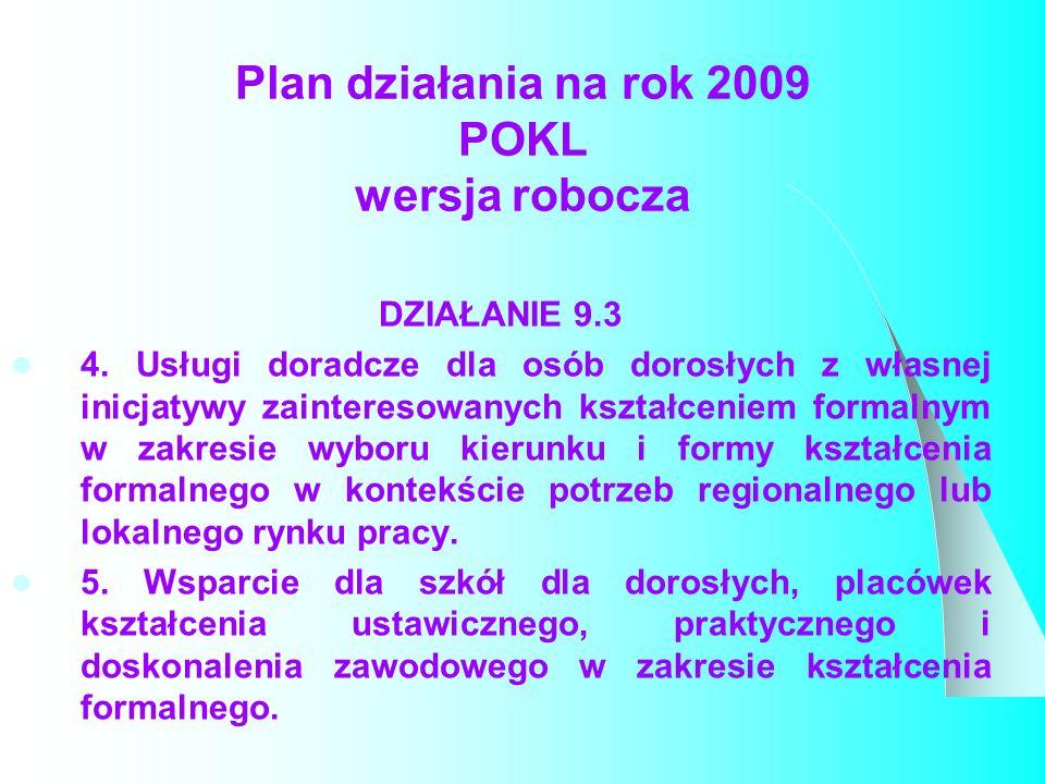 Plan działania na rok 2009 POKL wersja robocza DZIAŁANIE 9.3 4.