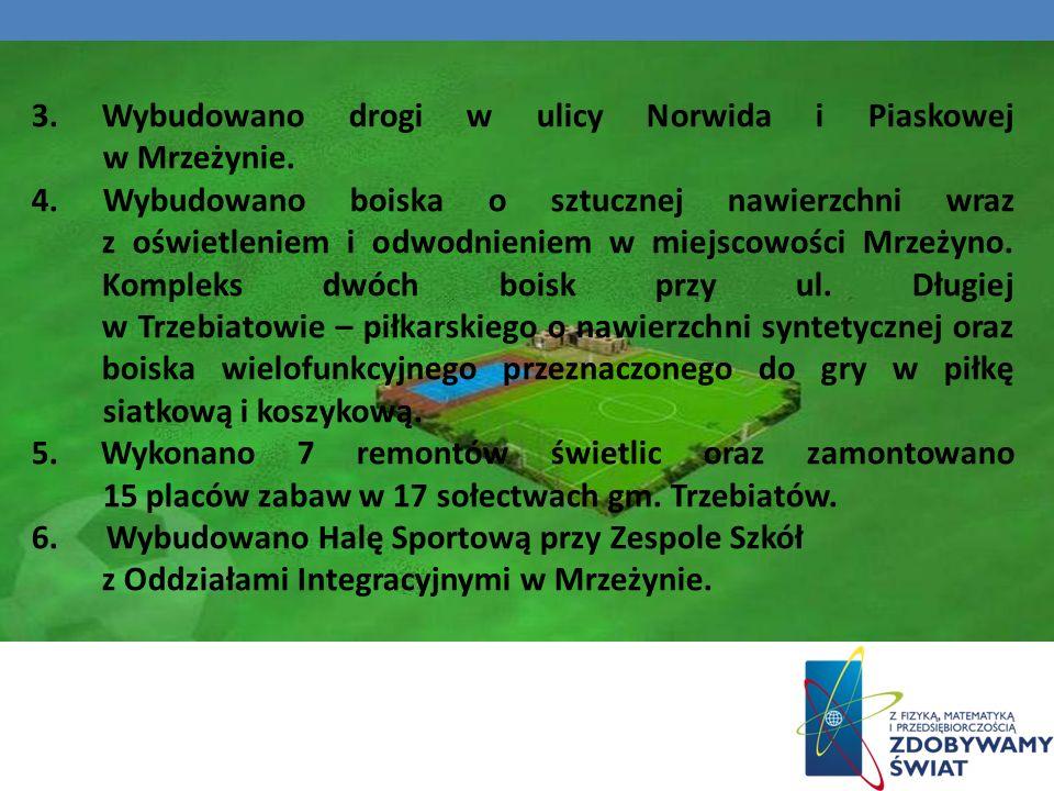 3. Wybudowano drogi w ulicy Norwida i Piaskowej w Mrzeżynie.