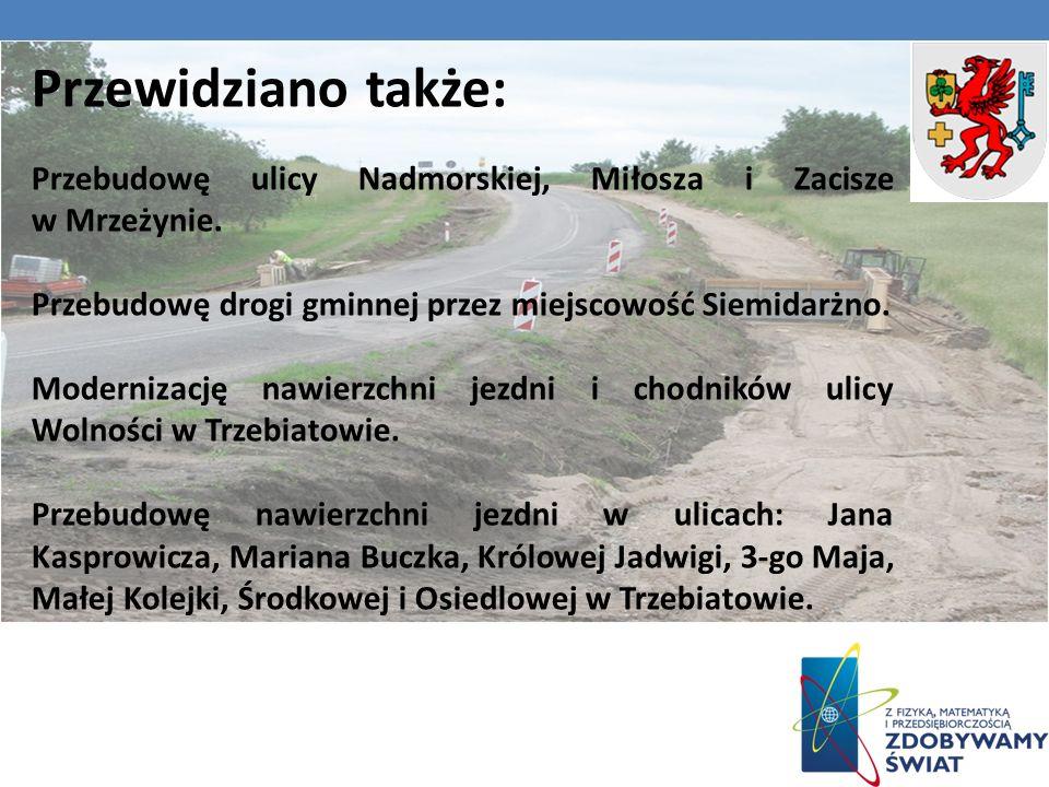 Przewidziano także: Przebudowę ulicy Nadmorskiej, Miłosza i Zacisze w Mrzeżynie.