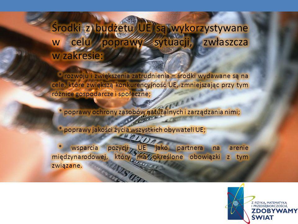Środki z budżetu UE są wykorzystywane w celu poprawy sytuacji, zwłaszcza w zakresie: * rozwoju i zwiększenia zatrudnienia – środki wydawane są na cele, które zwiększą konkurencyjność UE, zmniejszając przy tym różnice gospodarcze i społeczne; *