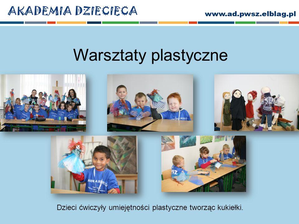 Warsztaty plastyczne Dzieci ćwiczyły umiejętności plastyczne tworząc kukiełki.