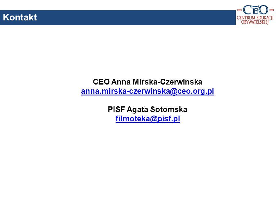 CEO Anna Mirska-Czerwinska anna.mirska-czerwinska@ceo.org.pl PISF Agata Sotomska filmoteka@pisf.pl Kontakt