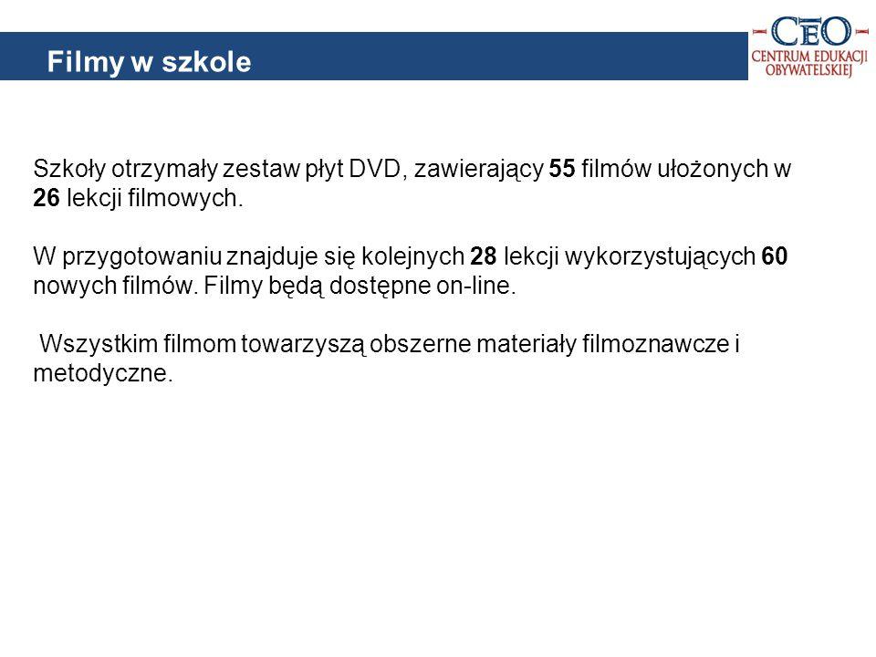 Szkoły otrzymały zestaw płyt DVD, zawierający 55 filmów ułożonych w 26 lekcji filmowych.