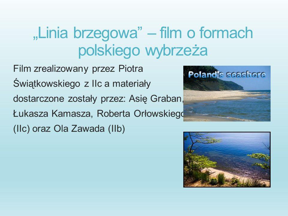 Linia brzegowa – film o formach polskiego wybrzeża Film zrealizowany przez Piotra Świątkowskiego z IIc a materiały dostarczone zostały przez: Asię Gra