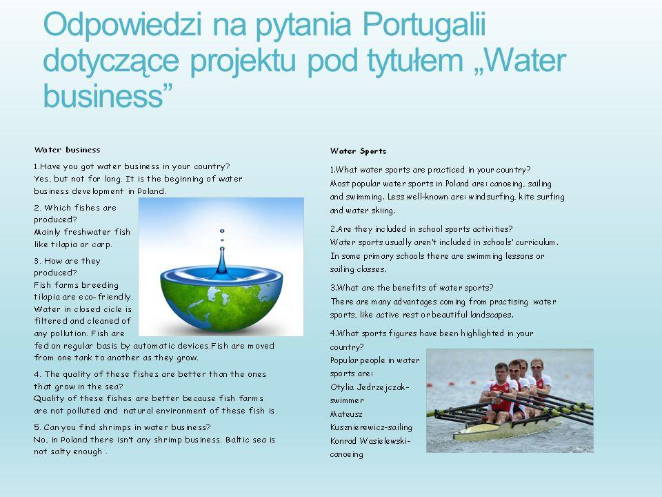 Odpowiedzi na pytania Portugalii dotyczące projektu pod tytułem Water business