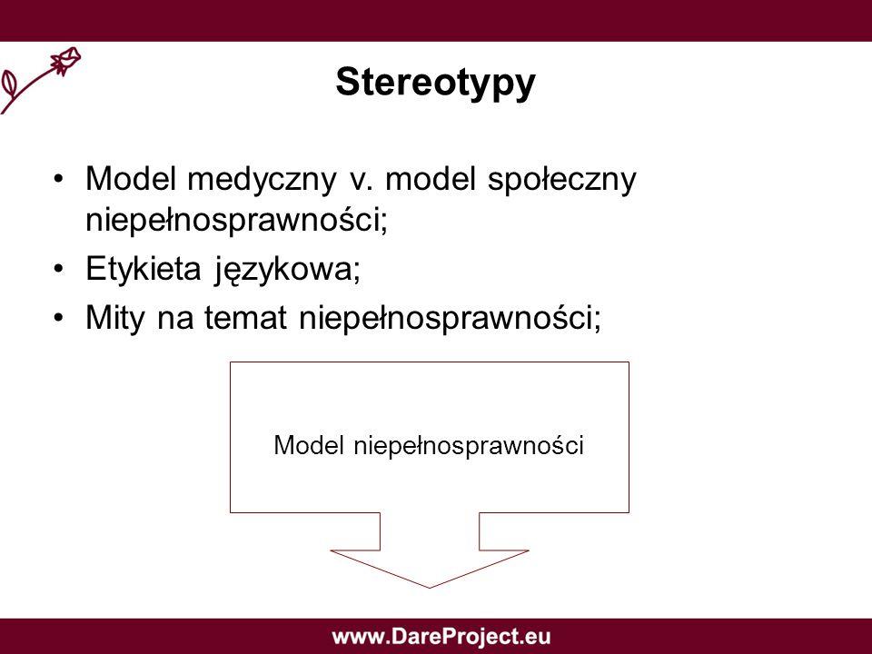 Stereotypy Model medyczny v. model społeczny niepełnosprawności; Etykieta językowa; Mity na temat niepełnosprawności; Model niepełnosprawności