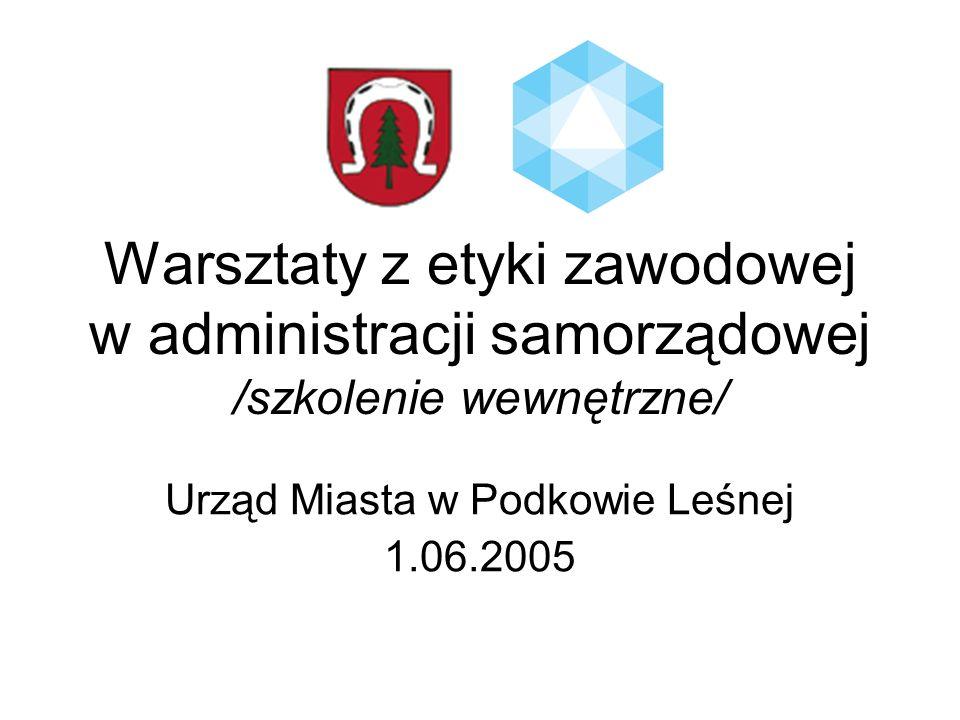 Warsztaty z etyki zawodowej w administracji samorządowej /szkolenie wewnętrzne/ Urząd Miasta w Podkowie Leśnej 1.06.2005