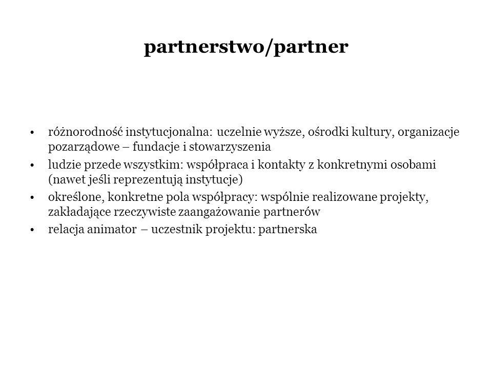 partnerstwo/partner różnorodność instytucjonalna: uczelnie wyższe, ośrodki kultury, organizacje pozarządowe – fundacje i stowarzyszenia ludzie przede