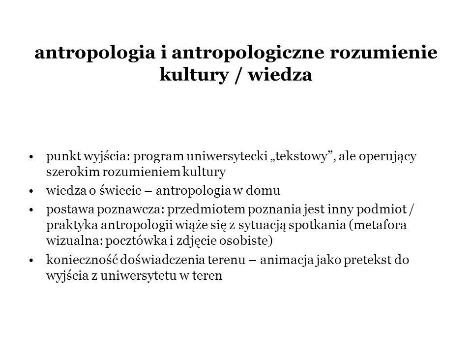 antropologia i antropologiczne rozumienie kultury / wiedza punkt wyjścia: program uniwersytecki tekstowy, ale operujący szerokim rozumieniem kultury w