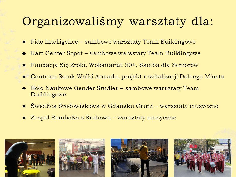 Jesteśmy organizatorem największego Festiwalu Kultury Brazylijskiej w Polsce http://www.sambafest.pl/ film dokumentalny z 4 edycji http://youtu.be/DQlvl_mOODE zdjęcia 4 edycji festiwalu http://www.sambafest.pl/http://youtu.be/DQlvl_mOODE zdjęcia 4 edycji festiwalu