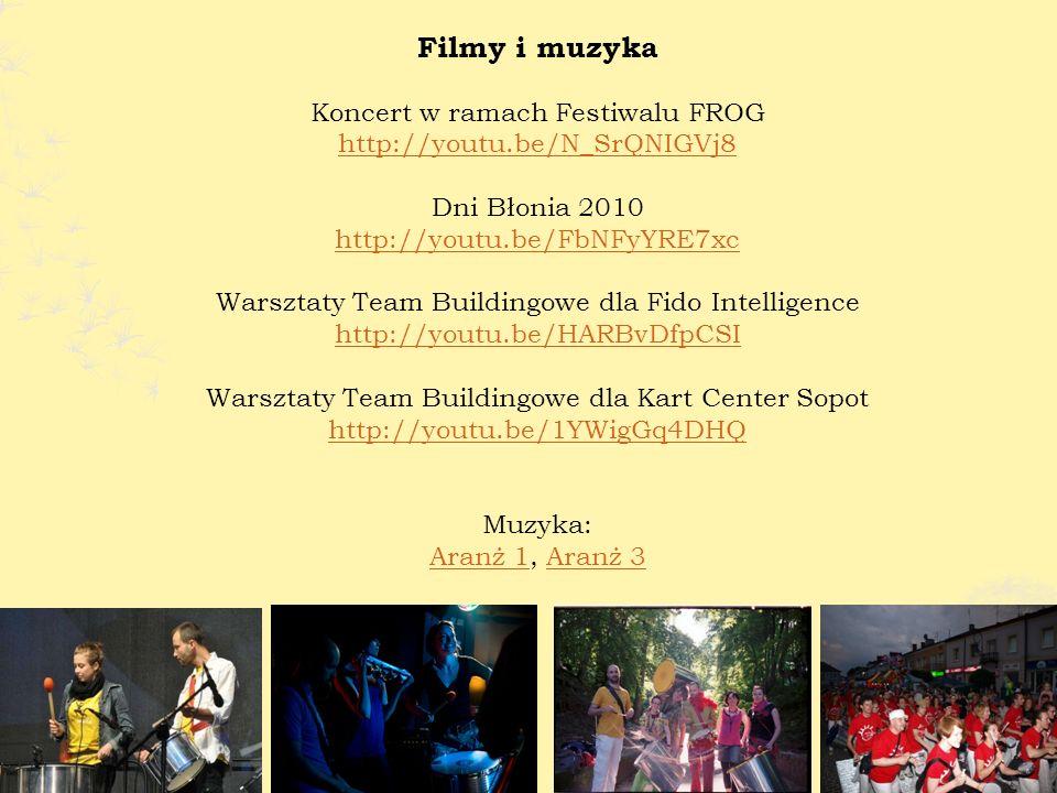 Filmy i muzyka Koncert w ramach Festiwalu FROG http://youtu.be/N_SrQNIGVj8 Dni Błonia 2010 http://youtu.be/FbNFyYRE7xc Warsztaty Team Buildingowe dla Fido Intelligence http://youtu.be/HARBvDfpCSI Warsztaty Team Buildingowe dla Kart Center Sopot http://youtu.be/1YWigGq4DHQ Muzyka: Aranż 1Aranż 1, Aranż 3Aranż 3