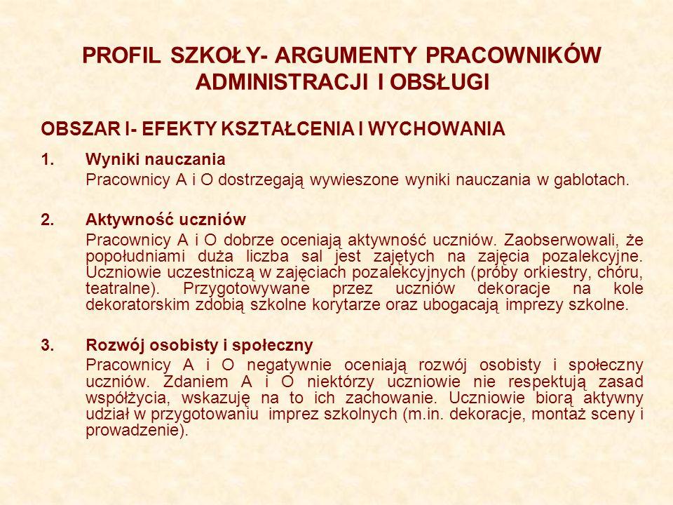 PROFIL SZKOŁY- ARGUMENTY PRACOWNIKÓW ADMINISTRACJI I OBSŁUGI OBSZAR I- EFEKTY KSZTAŁCENIA I WYCHOWANIA 1.Wyniki nauczania Pracownicy A i O dostrzegają