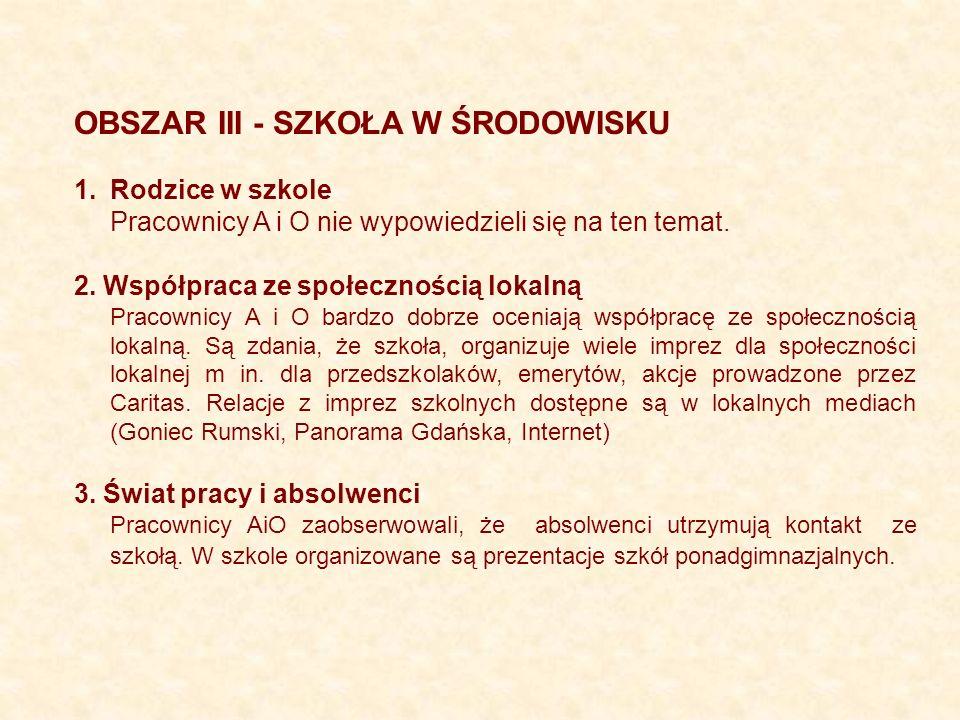 OBSZAR III - SZKOŁA W ŚRODOWISKU 1.Rodzice w szkole Pracownicy A i O nie wypowiedzieli się na ten temat. 2. Współpraca ze społecznością lokalną Pracow