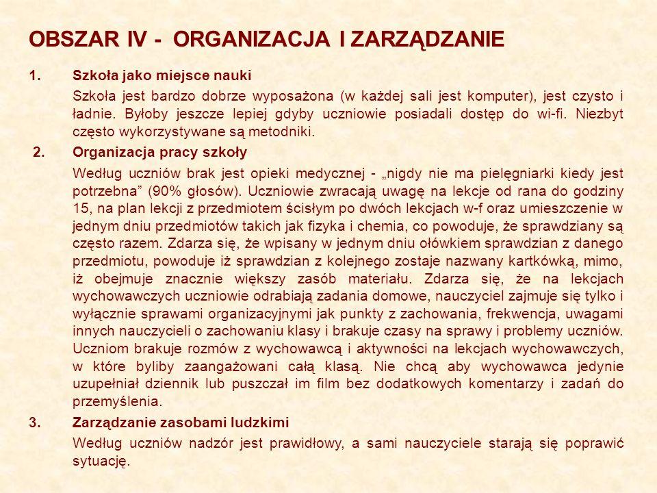 OBSZAR IV - ORGANIZACJA I ZARZĄDZANIE 1.