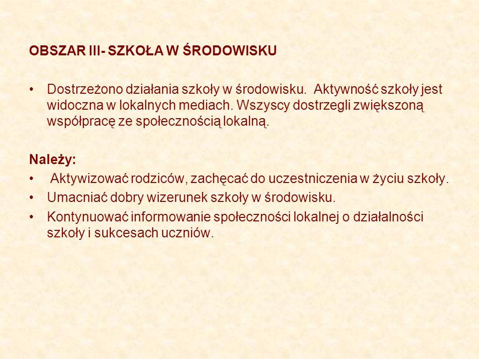 OBSZAR III- SZKOŁA W ŚRODOWISKU Dostrzeżono działania szkoły w środowisku.