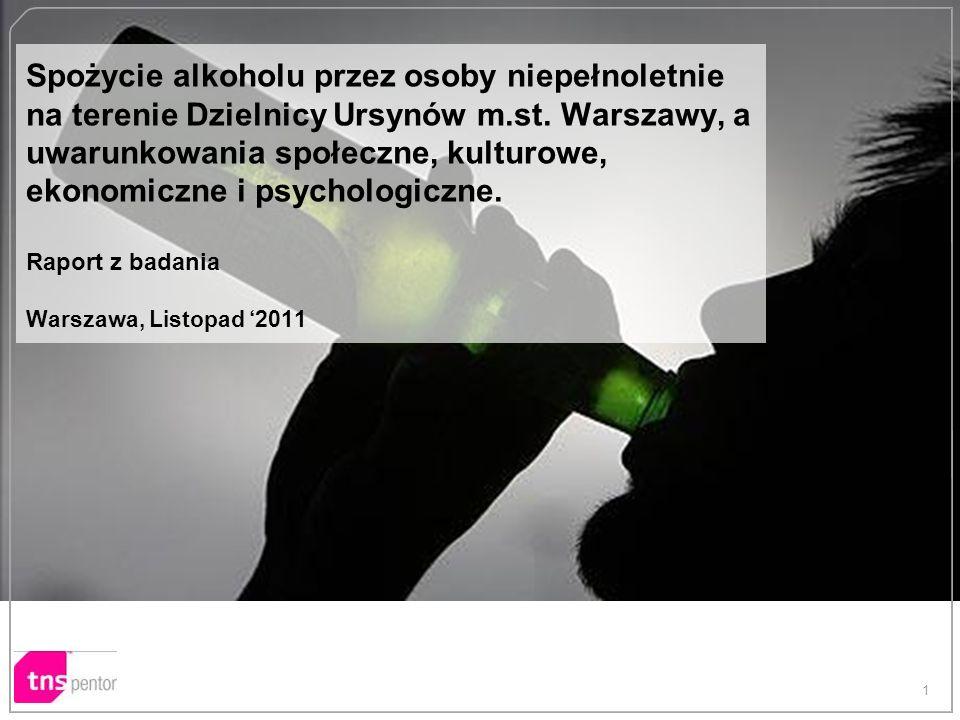 1 Spożycie alkoholu przez osoby niepełnoletnie na terenie Dzielnicy Ursynów m.st. Warszawy, a uwarunkowania społeczne, kulturowe, ekonomiczne i psycho