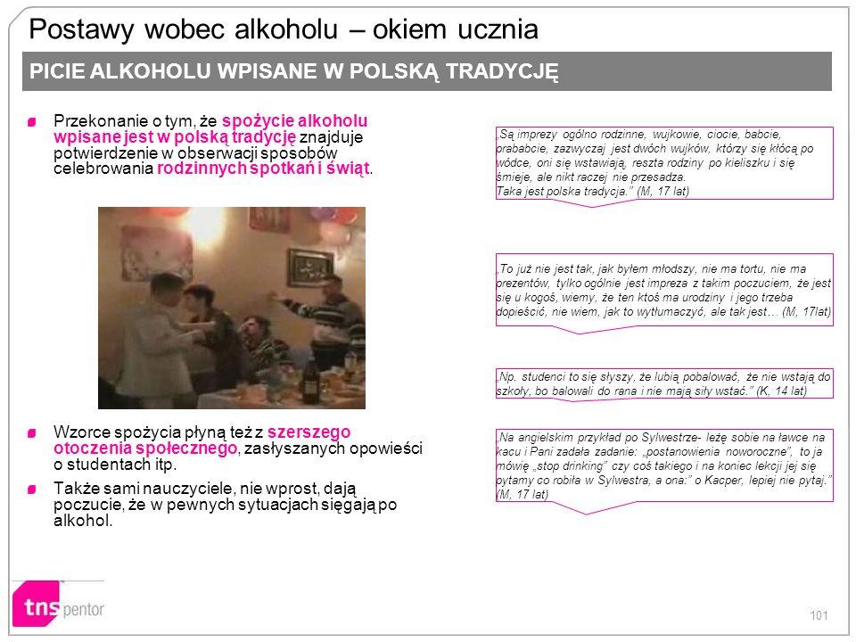 101 Postawy wobec alkoholu – okiem ucznia Przekonanie o tym, że spożycie alkoholu wpisane jest w polską tradycję znajduje potwierdzenie w obserwacji s